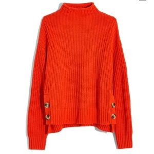 NWT Madewell Mockneck Side-Button Pullover Sweater